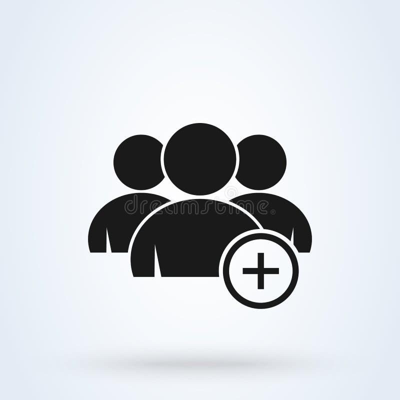 Tillfoga och plus gruppen För symbolsdesign för enkel vektor modern illustration stock illustrationer