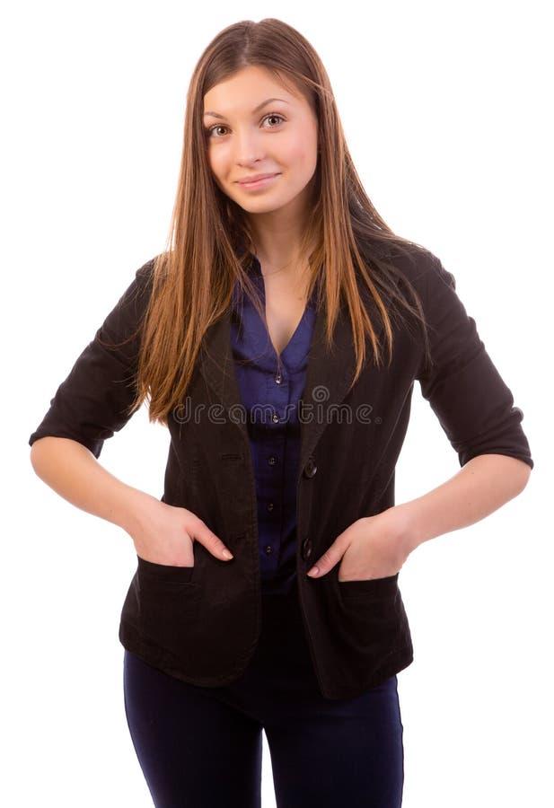 Tillfredsställd affärskvinna royaltyfria bilder