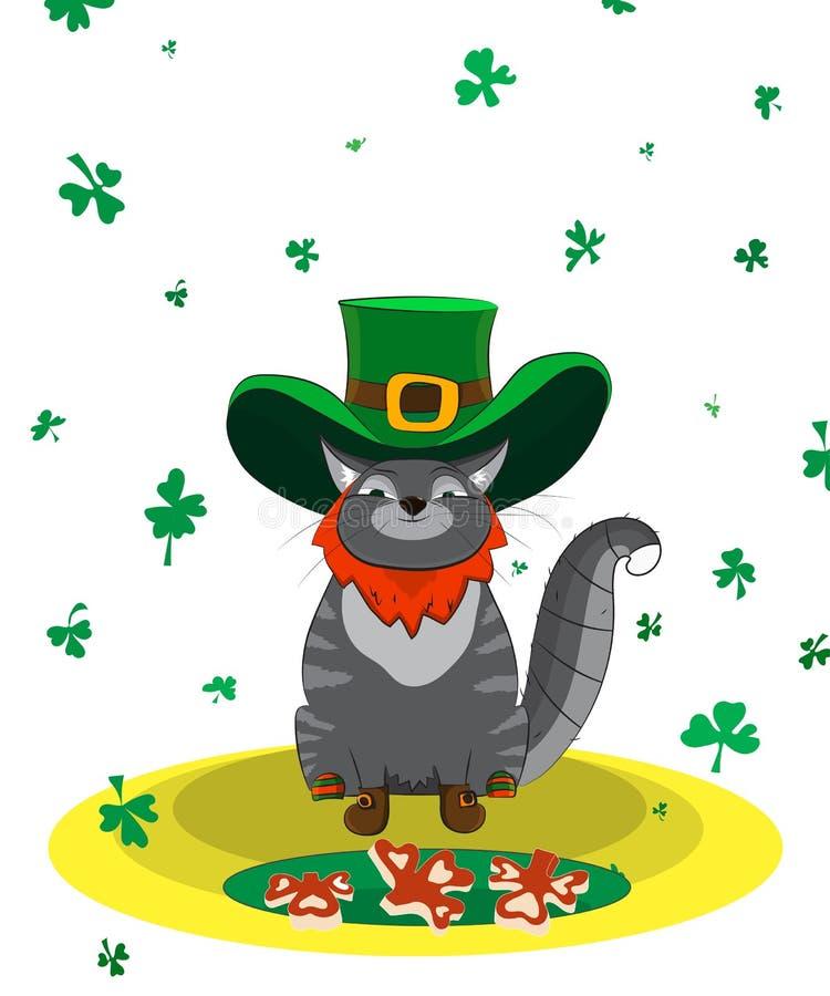 Tillfredsställd katt som kläs som ett troll Dag för affischSt Patrick ` s royaltyfri bild