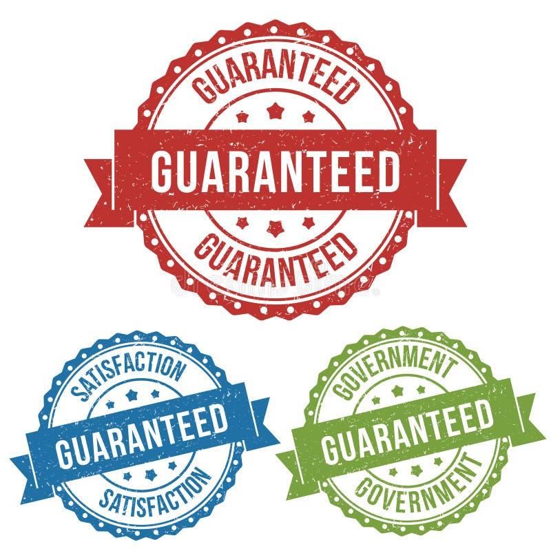 Tillfredsställelse garanterat som rekommenderas, etiketten för stämpeln för vektoremblemetiketten för produkt och att marknadsför royaltyfri illustrationer