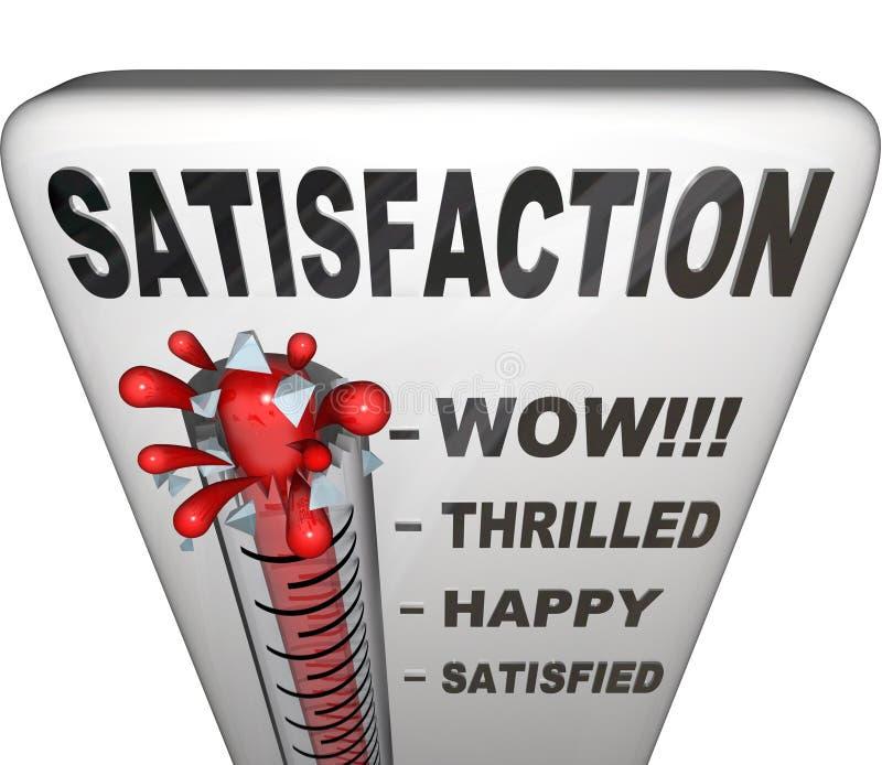 Tillfredsställelsetermometer som mäter lyckauppfyllelsenivån vektor illustrationer