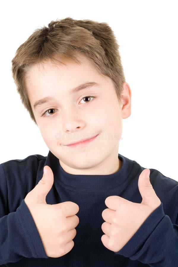 tillfredsställt barn för pojke stående arkivbild