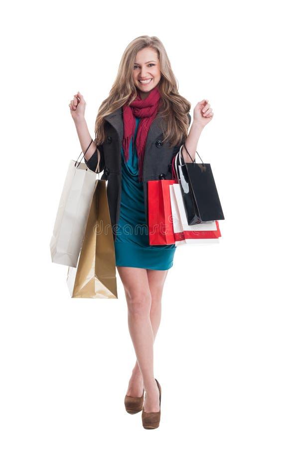 Tillfredsställt shoppa damen arkivbilder