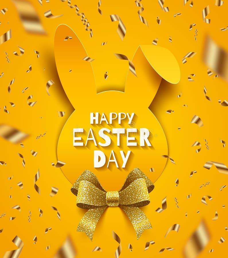 tillgänglig hälsning för korteaster eps mapp Den pappers- konturn av kaninhuvudet, blänker bandpilbågen och guld- konfettier vektor illustrationer
