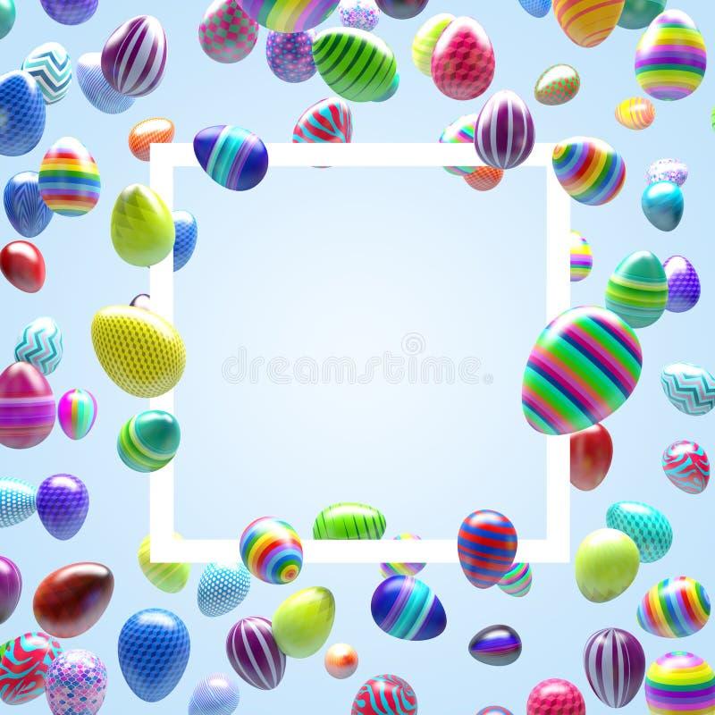 tillgänglig hälsning för korteaster eps mapp Många färgade ägg som flyger i luftrundaram vektor illustrationer