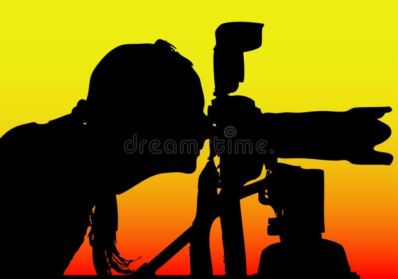 tillgänglig silhouette för fotograf för eps-formatflicka royaltyfri illustrationer