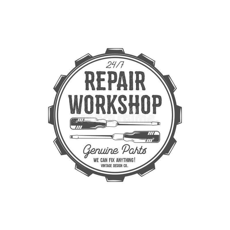 tillgänglig tappning för designetikettvektor Reparationsseminariumlapp i gammal stil med skruvmejslar Bruk för stationen, tjänste royaltyfria bilder