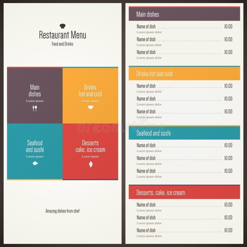 tillgänglig vektor för designmenyrestaurang vektor illustrationer