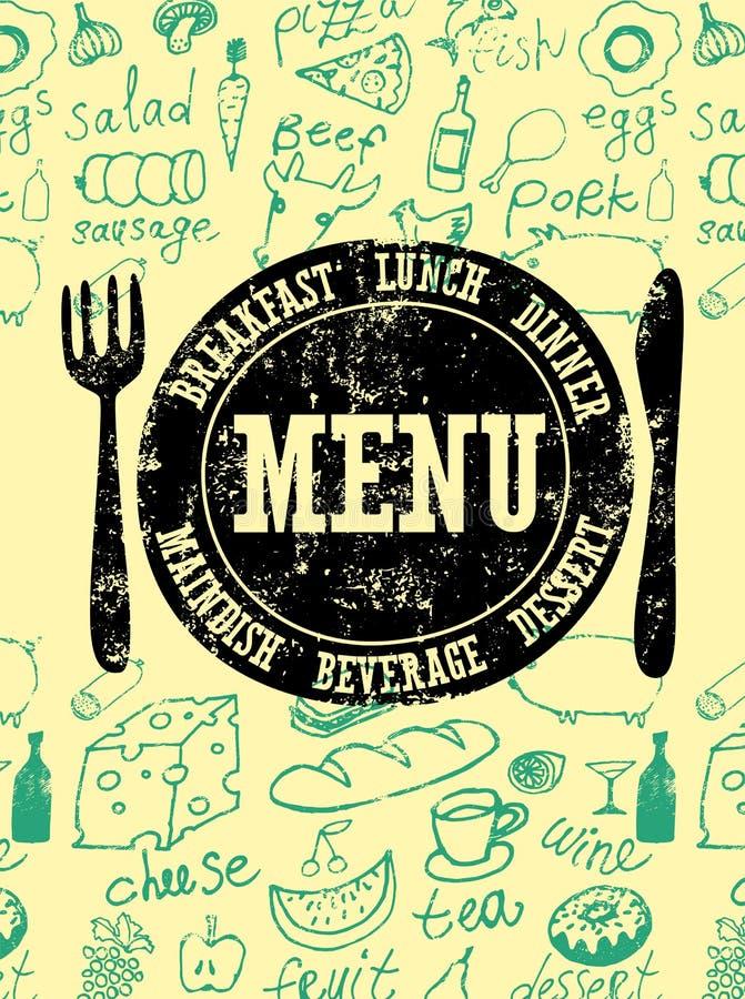 tillgänglig vektor för designmenyrestaurang Typografisk retro affisch med stämpeln och hand-dragen mat också vektor för coreldraw stock illustrationer