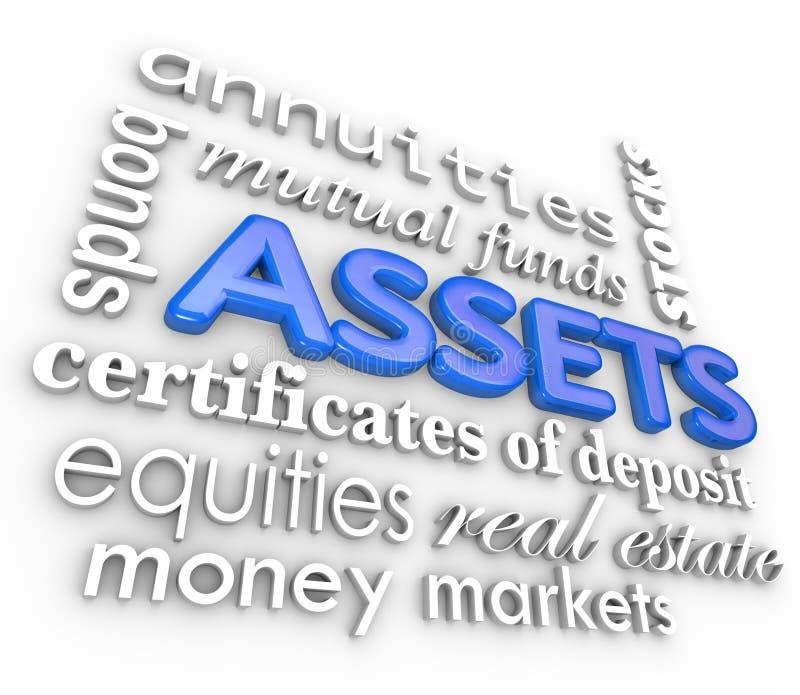 Tillgångordcollage lagerför värde för rikedom för pengar för förbindelseinvesteringar stock illustrationer