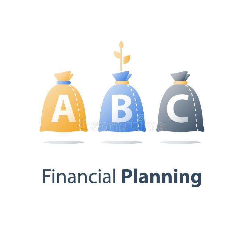 Tillgångtilldelning, finansiellt beslut, finansdifferentiering, medelsförvaltning, stark investeringsportfölj royaltyfri illustrationer