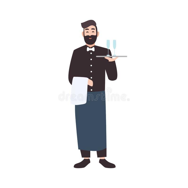 Tillmötesgående uppassare, restaurang som väntar den tjänste- arbetaren eller det bärande magasinet för server med drinkar Gullig royaltyfri illustrationer