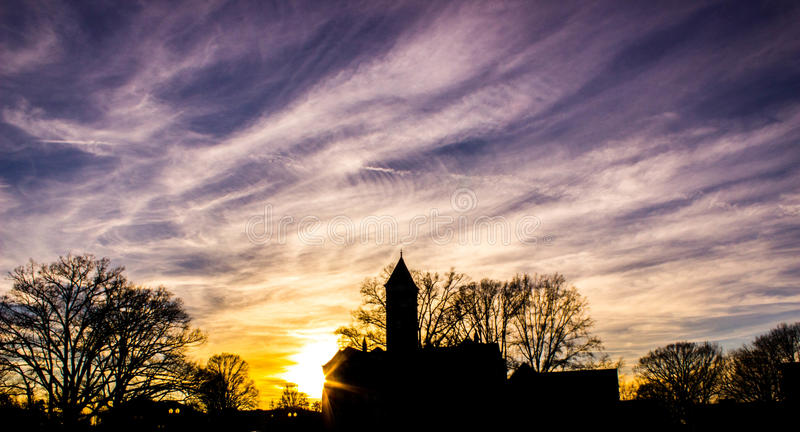 Tillman Building Sunset In Clemson royalty free stock images