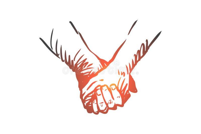 Tillsammans händer, kamratskap, förälskelse, partnerskapbegrepp Hand dragen isolerad vektor vektor illustrationer