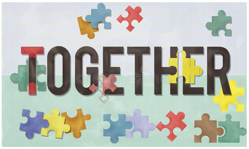 Tillsammans samhörighetskänsla Team Teamwork Connection Concept royaltyfri illustrationer