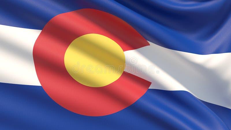 Tillstånd av den Colorado flaggan flaggatillstånd USA arkivfoto