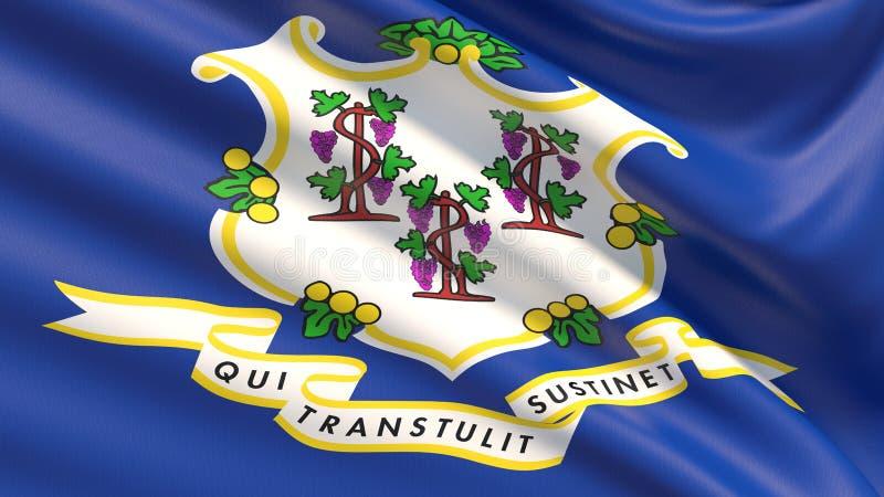 Tillstånd av den Connecticut flaggan flaggatillstånd USA arkivfoton