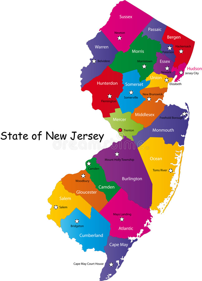Tillstånd av New Jersey stock illustrationer