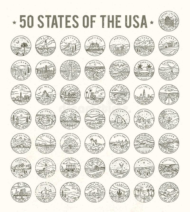 50 tillstånd av USA vektor illustrationer