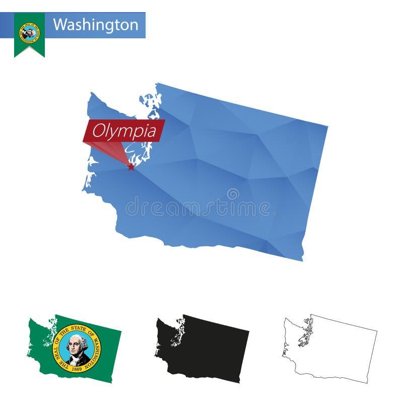 Tillstånd av Washington den blåa låga Poly översikten med huvudstad Olympia royaltyfri illustrationer