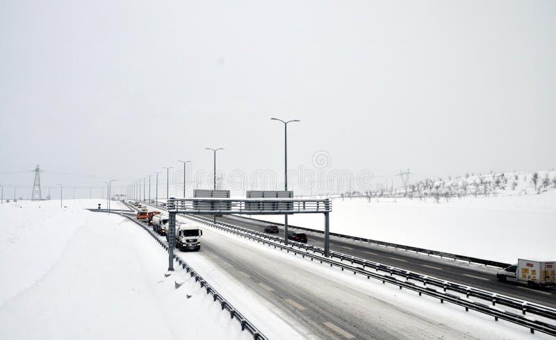 tillstånd som kör vinter arkivbilder