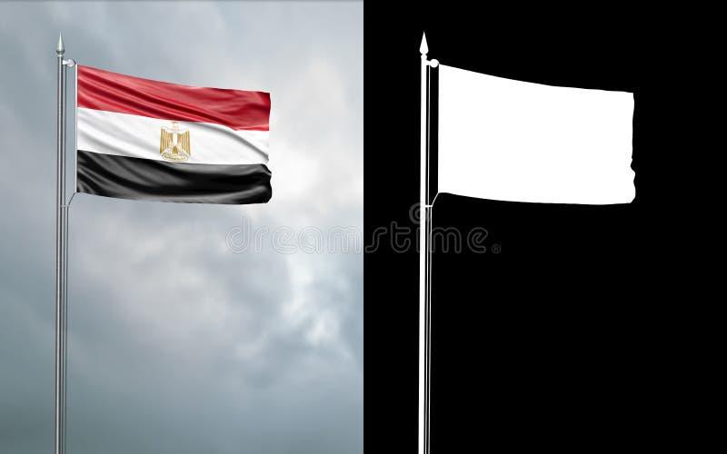 Tillståndsflagga av Arabrepubliken Egypten stock illustrationer