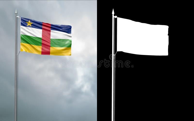 Tillståndsflagga av Centralafrikanska republiken stock illustrationer