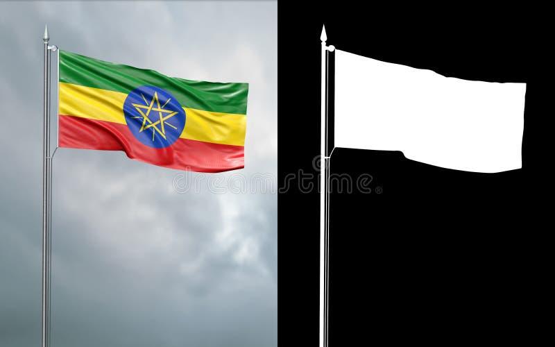 Tillståndsflagga av Demokratiska förbundsrepubliken Etiopien royaltyfri illustrationer
