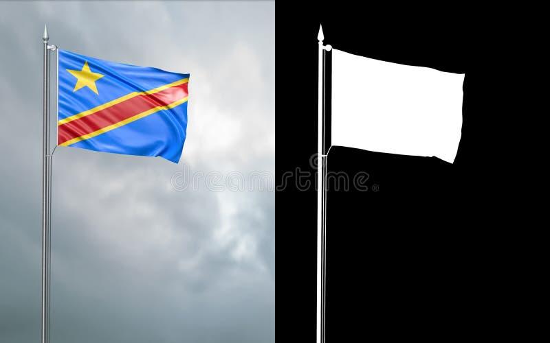 Tillståndsflagga av Demokratiska republiken Kongo vektor illustrationer