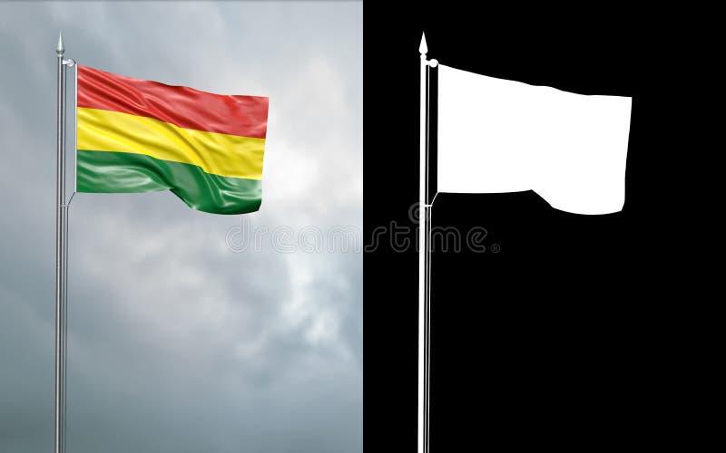 Tillståndsflagga av den Plurinational staten av Bolivia royaltyfri illustrationer