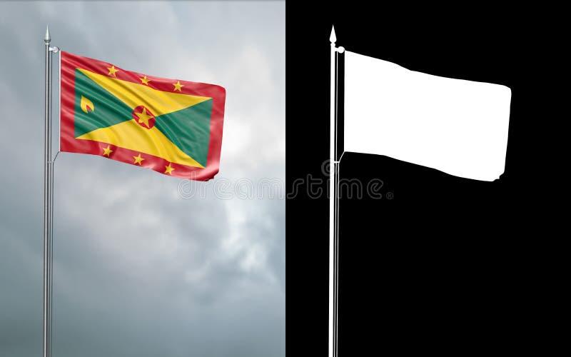 Tillståndsflagga av Grenada med den alfabetiska kanalen vektor illustrationer