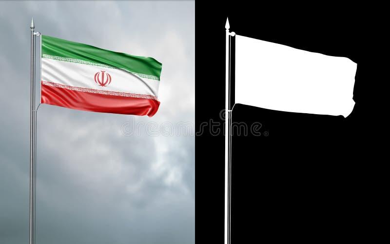 Tillståndsflagga av Islamiska republiken Iran stock illustrationer