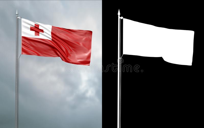 Tillståndsflagga av Konungariket Tonga med den alfabetiska kanalen royaltyfri illustrationer