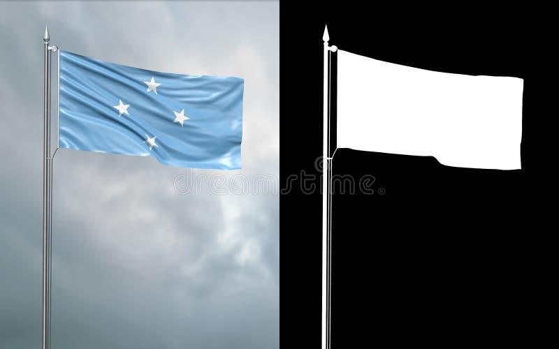 Tillståndsflagga av Mikronesiska federationen vektor illustrationer