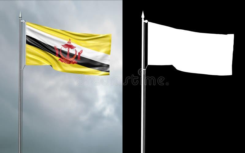 Tillståndsflagga av nationen av Brunei, boningen av fred stock illustrationer