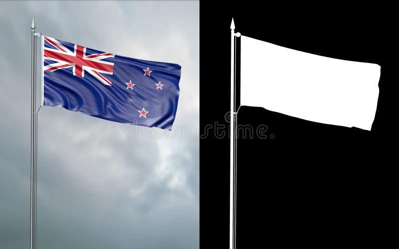 Tillståndsflagga av Nya Zeeland med den alfabetiska kanalen royaltyfri illustrationer