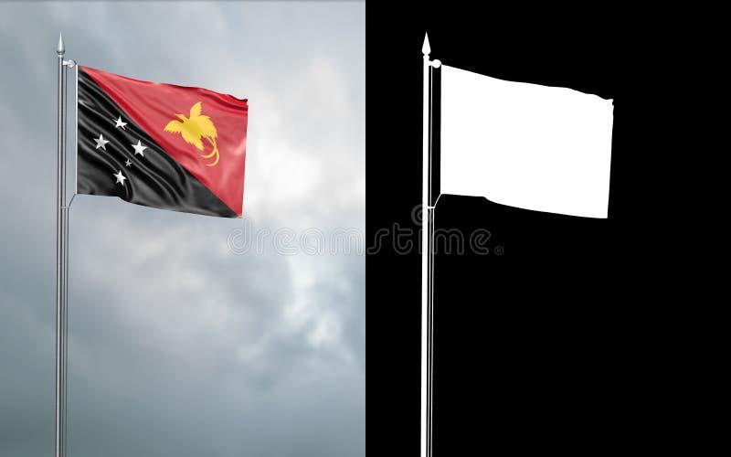 Tillståndsflagga av oberoende staten av Papua Nya Guinea stock illustrationer