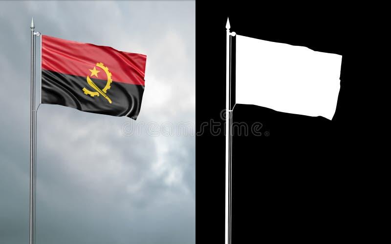 Tillståndsflagga av Republiken Angola med den alfabetiska kanalen royaltyfri illustrationer