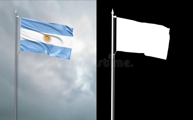 Tillståndsflagga av Republiken Argentina med den alfabetiska kanalen vektor illustrationer