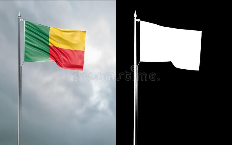 Tillståndsflagga av Republiken Benin med den alfabetiska kanalen vektor illustrationer