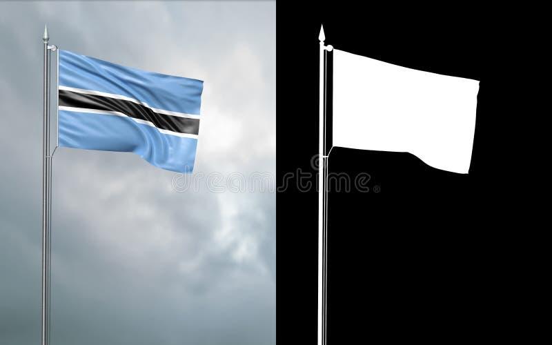 Tillståndsflagga av Republiken Botswana med den alfabetiska kanalen vektor illustrationer