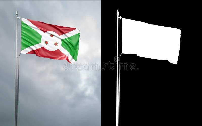 Tillståndsflagga av Republiken Burundi med den alfabetiska kanalen royaltyfri illustrationer