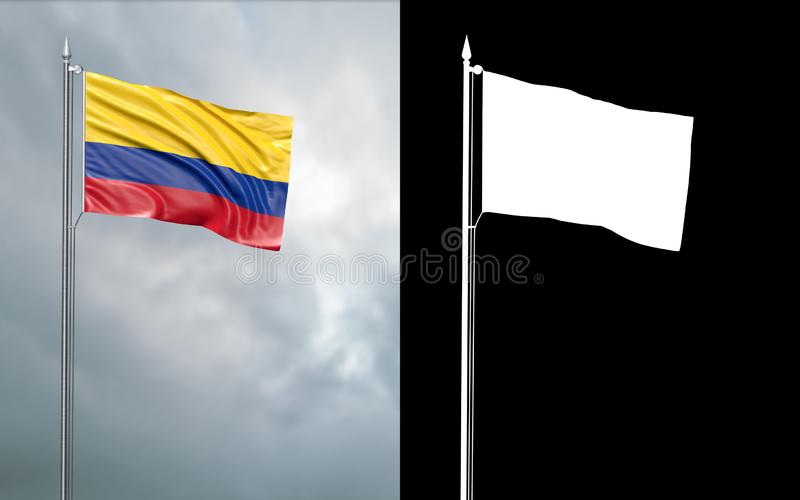 Tillståndsflagga av Republiken Colombia med den alfabetiska kanalen stock illustrationer
