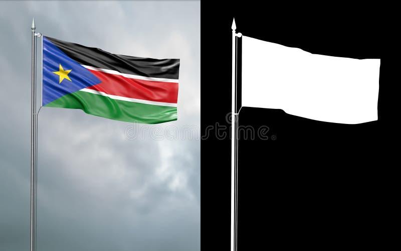Tillståndsflagga av republiken av den alfabetiska kanalen för södra Sudan intelligens stock illustrationer