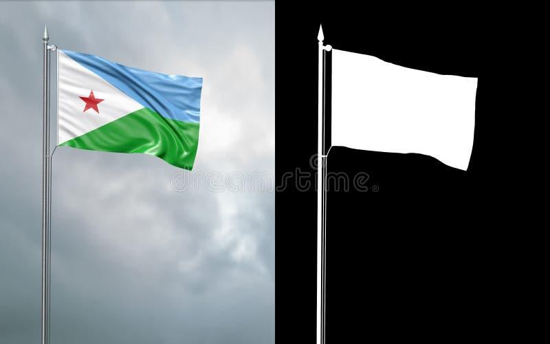 Tillståndsflagga av Republiken Djibouti med den alfabetiska kanalen royaltyfri illustrationer