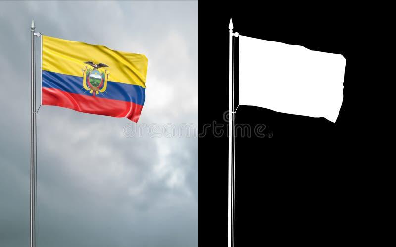 Tillståndsflagga av Republiken Ecuador med den alfabetiska kanalen royaltyfri illustrationer