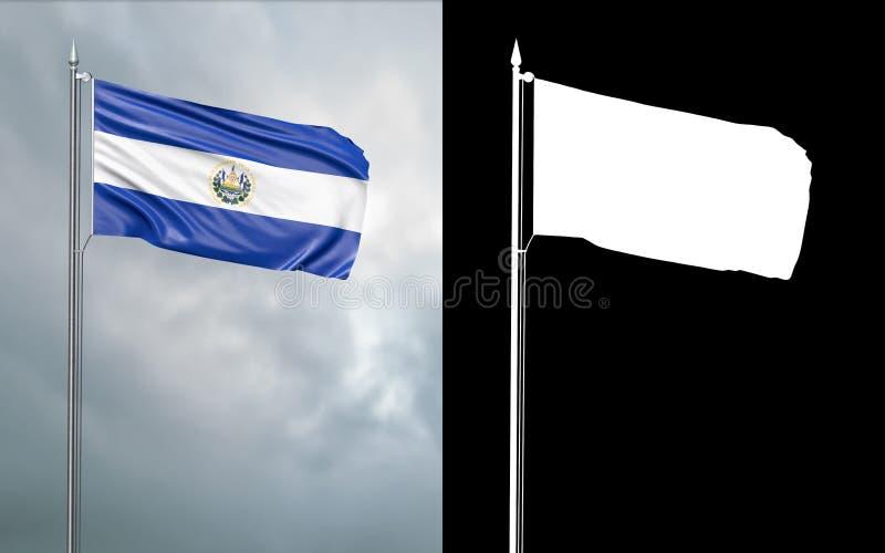 Tillståndsflagga av Republiken El Salvador stock illustrationer