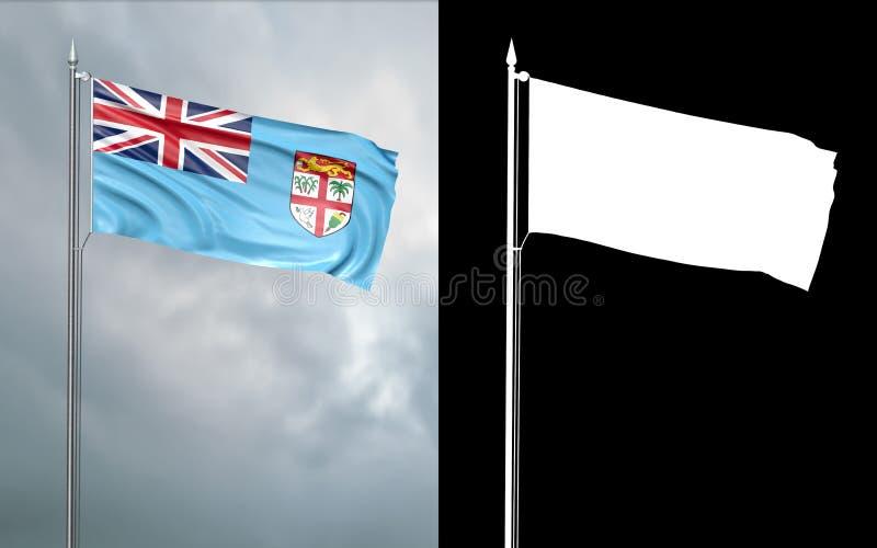 Tillståndsflagga av republiken av Fiji med den alfabetiska kanalen vektor illustrationer