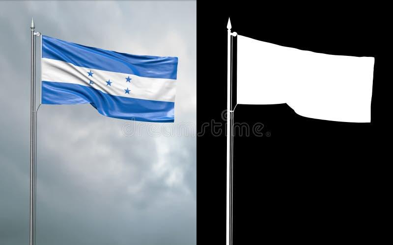 Tillståndsflagga av Republiken Honduras med den alfabetiska kanalen stock illustrationer