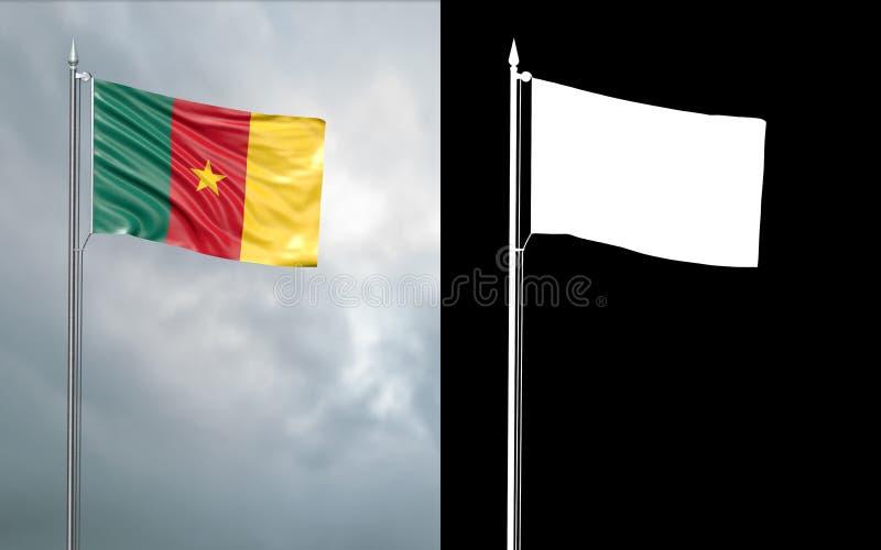 Tillståndsflagga av Republiken Kamerun med den alfabetiska kanalen stock illustrationer